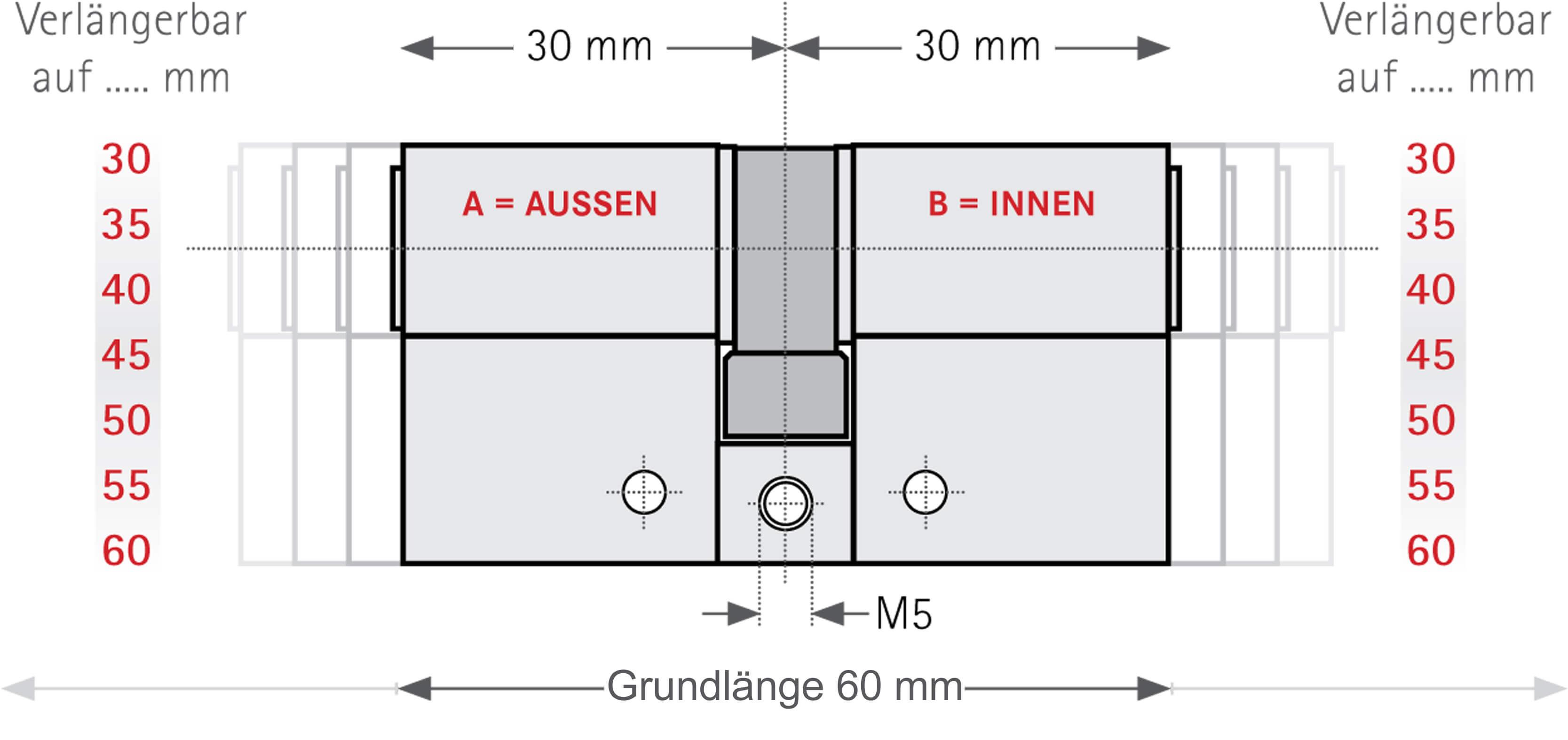 PZ Zylinderschloss 30//30mm Profilzylinder