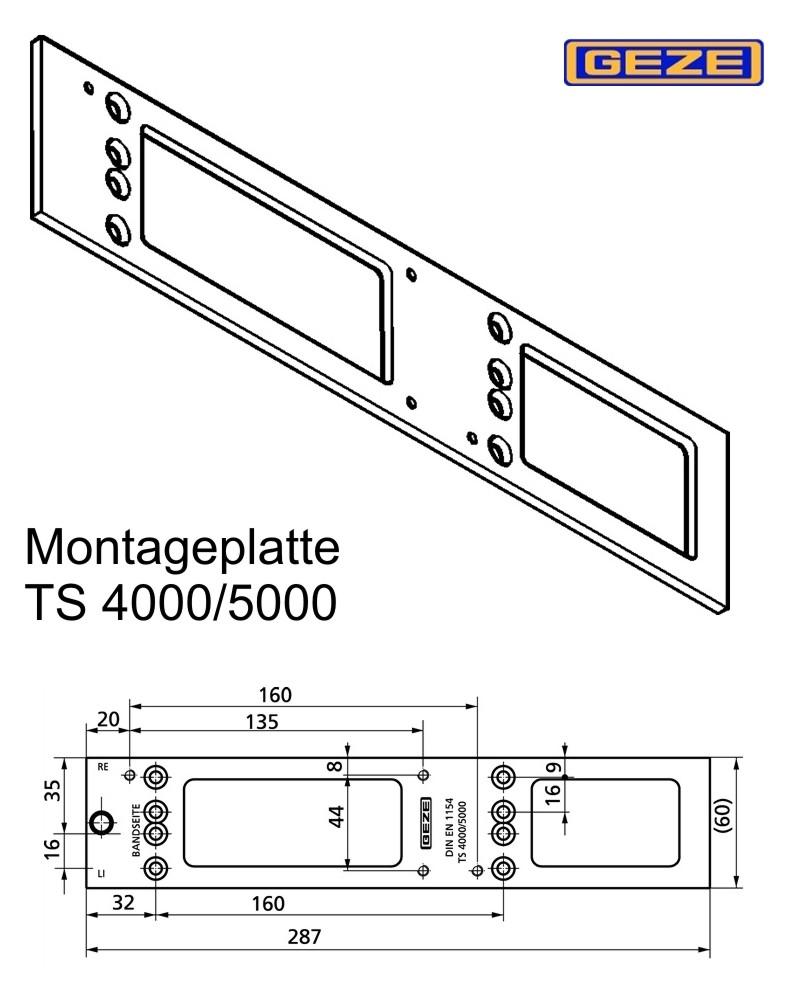 montageplatte geze ts1500 2000 3000 4000 5000 wagner sicherheit. Black Bedroom Furniture Sets. Home Design Ideas