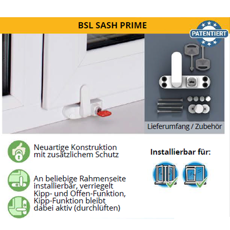 Kindersicherung für Fenster BSL Sash Prime   Wagner Sicherheit