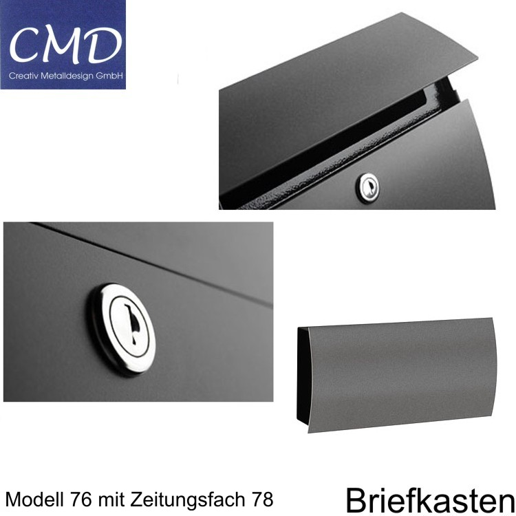 cmd briefkasten mit fenster anthrazit 76 wagner sicherheit. Black Bedroom Furniture Sets. Home Design Ideas