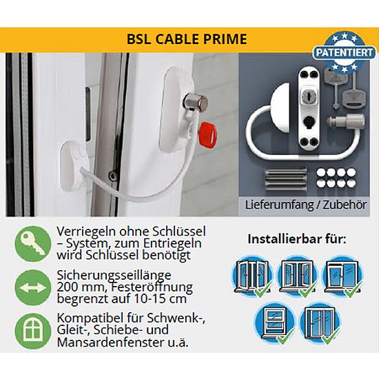 kindersicherung f r fenster bsl cable prime 3 er pack. Black Bedroom Furniture Sets. Home Design Ideas