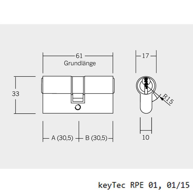 Einzelschlie/ßung 5 Schl/üssel Sicherheits-T/ürzylinder Sicherungskarte mit Sperrkugel und Rippenabfrage WINKHAUS RPE keyTec Doppelzylinder mit Not- und Gefahrenfunktion 30//30 inkl