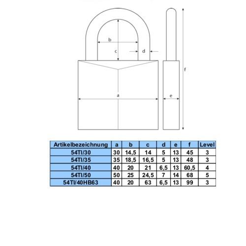 Maßtabelle 54Ti Level 3-5